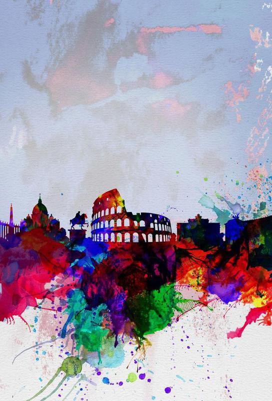 Rome Watercolor Skyline acrylglas print