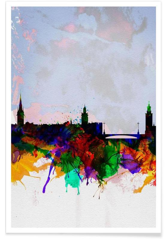 Stockholm Watercolor Skyline -Poster