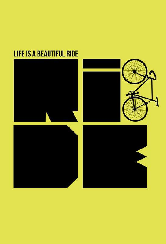 Life is a Ride Poster tableau en verre