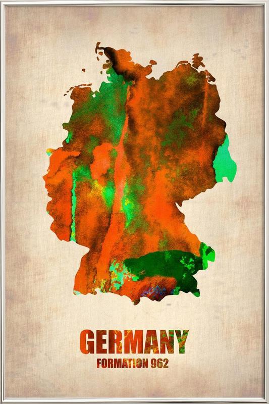 Germany Watercolor Map Poster in Aluminium Frame