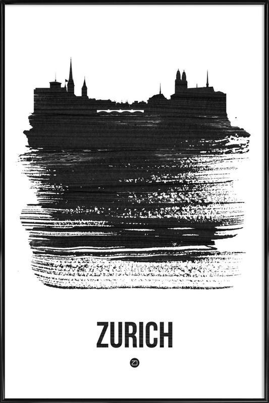 Zurich Skyline Brush Stroke Framed Poster