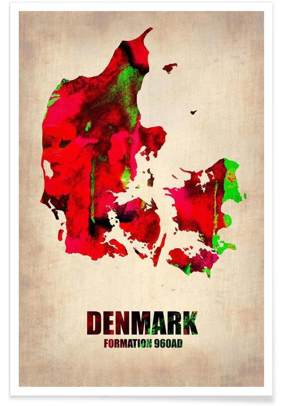 Denmark Watercolor Map Poster