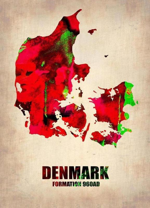 Denmark Watercolor Map Canvas Print