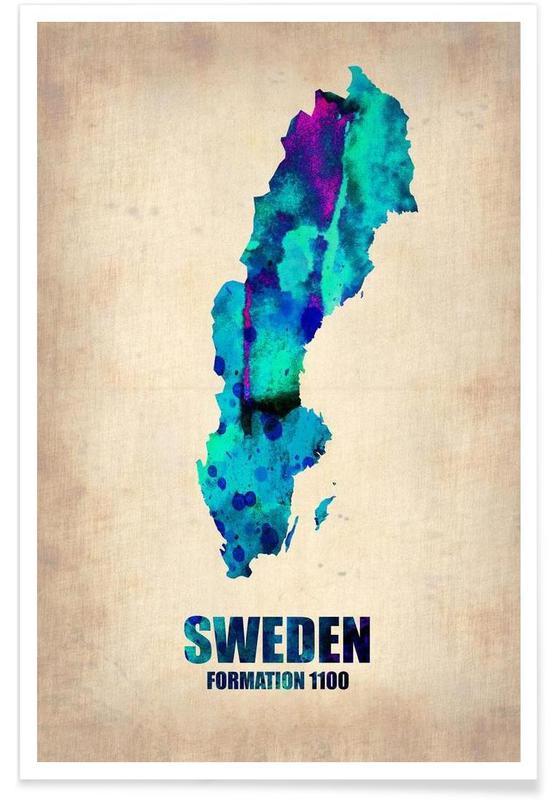 Suède - Carte en aquarelle affiche