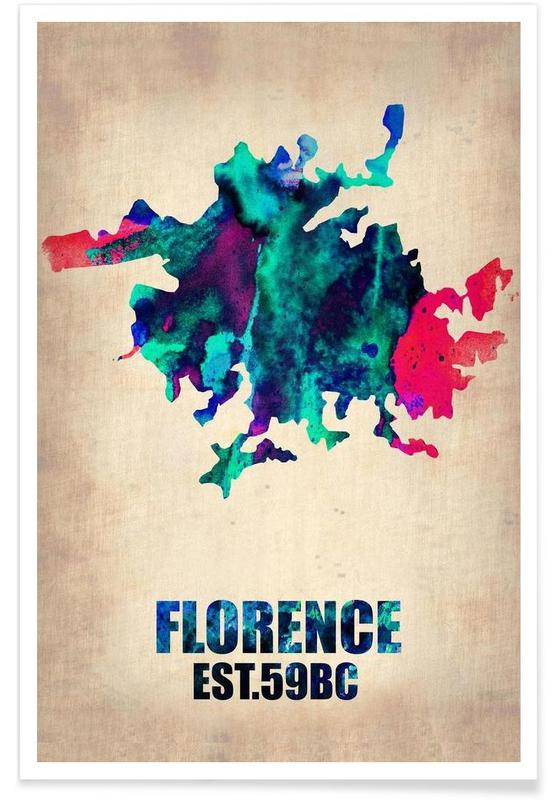 Florence Watercolor Map Poster
