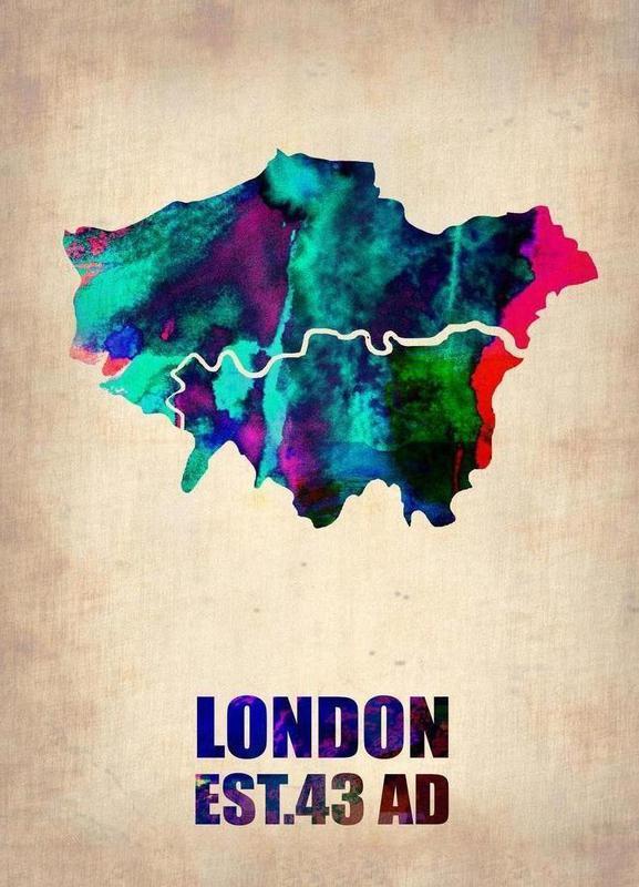 London Watercolor Map toile