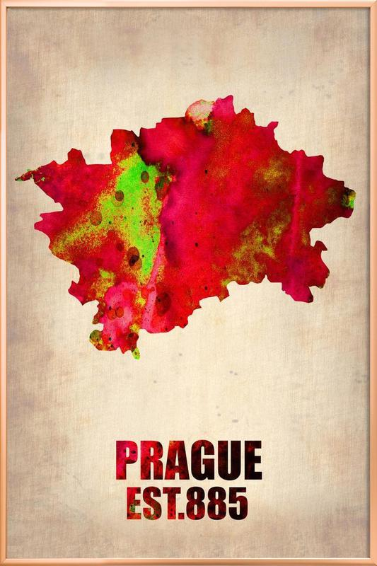 Prague Watercolor Map poster in aluminium lijst