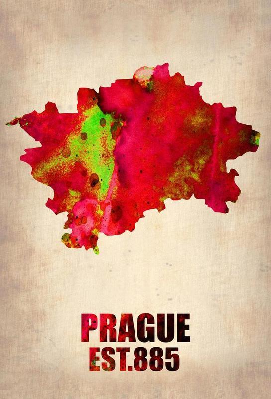 Prague Watercolor Map alu dibond