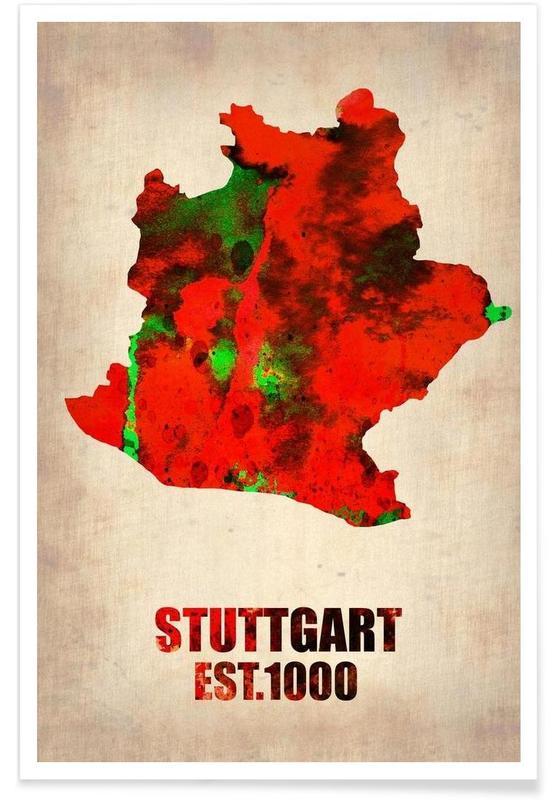 Stuttgart - Carte en aquarelle affiche