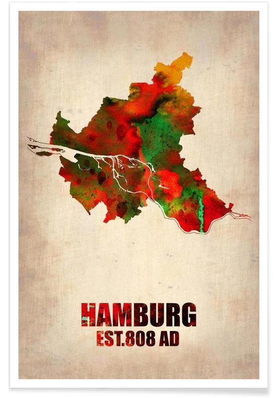 Hamburg Watercolor Map Poster