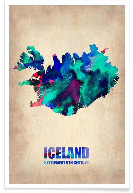 Iceland Watercolor Map Poster