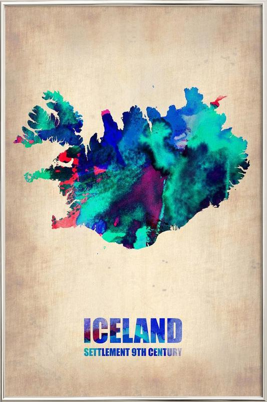 Iceland Watercolor Map -Poster im Alurahmen