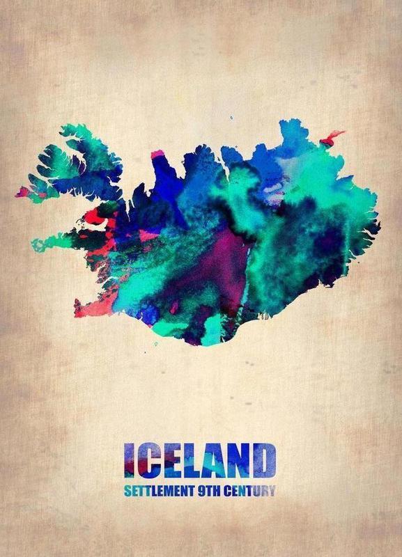 Iceland Watercolor Map -Leinwandbild