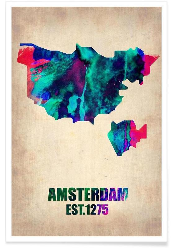 Amsterdam-Aquarell-Stadtkarte -Poster