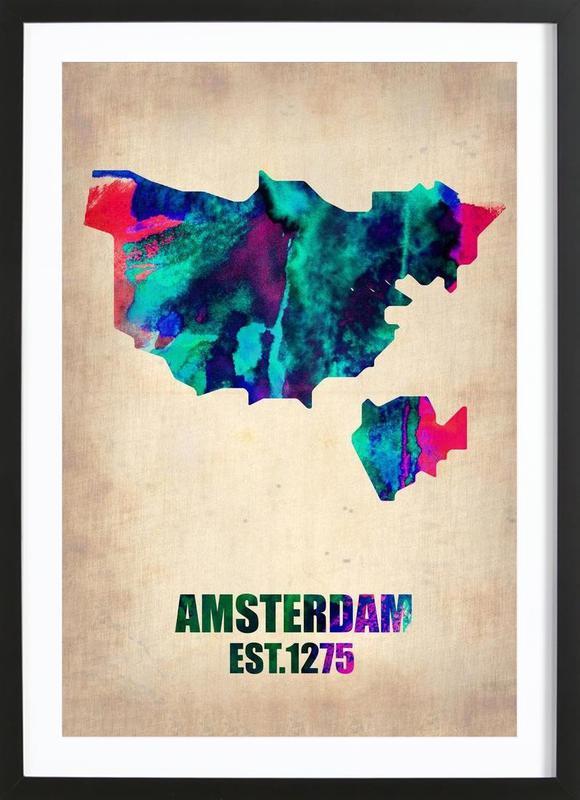 Amsterdam Watercolor Map Framed Print