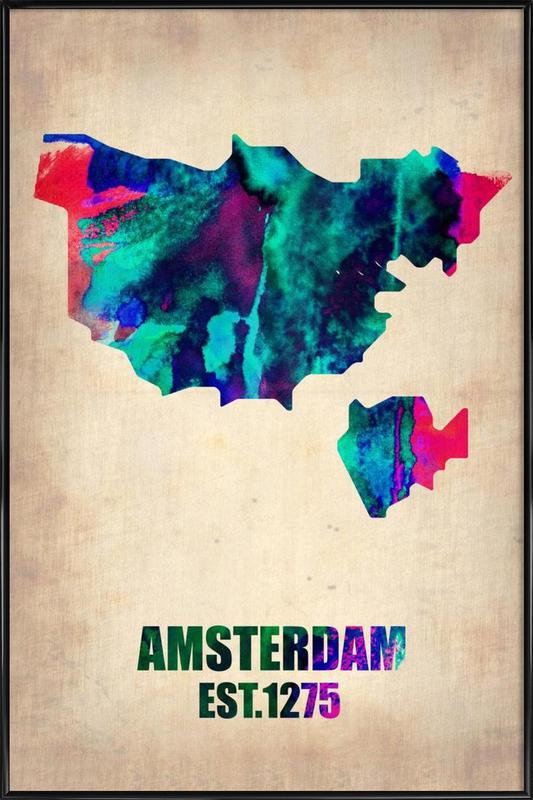 Amsterdam Watercolor Map Framed Poster