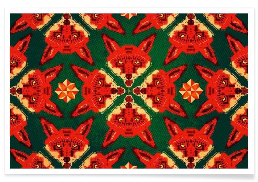 Geometric Fox Pattern Poster