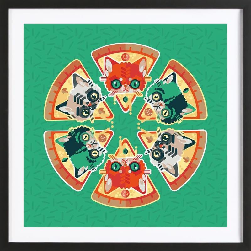 Pizza Slice Cats Framed Print