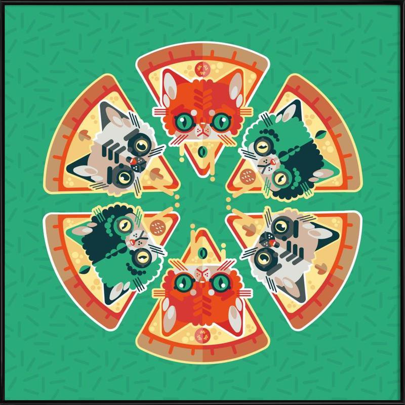 Pizza Slice Cats Framed Poster