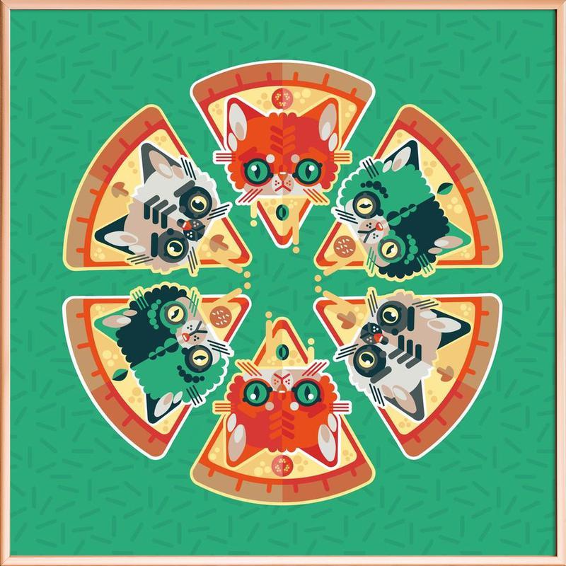 Pizza Slice Cats Poster in Aluminium Frame